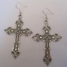 1 пара тибетского серебра* большой серебряный крест* серьги в готическом стиле Дита Мадонна Хэллоуин нарядное платье 70 мм