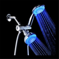 High Quality water power LED Dual Shower Heads Double Handheld Showerheads LD8008 8010