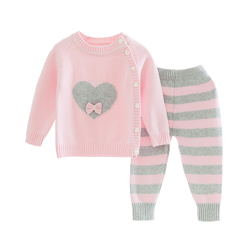 Mioigee 2018 Baby Girls Set Spring Autumn Knit Cute Pattern Kids Set Sweater +Pants 2 Pcs Suit Toddler Infant Children Clothes free shipping retail new 2013 spring autumn children suit baby girls set kids casual cute sweatshirt top trousers 2pcs set