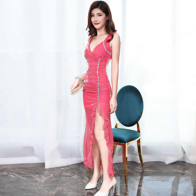 Sexy Cocktail Kleider 2018 Abend Party Club Tiefer V Neck Slit Sleeveless Rosa Lila Kleid 2019 Kleid Cocktail TS1227