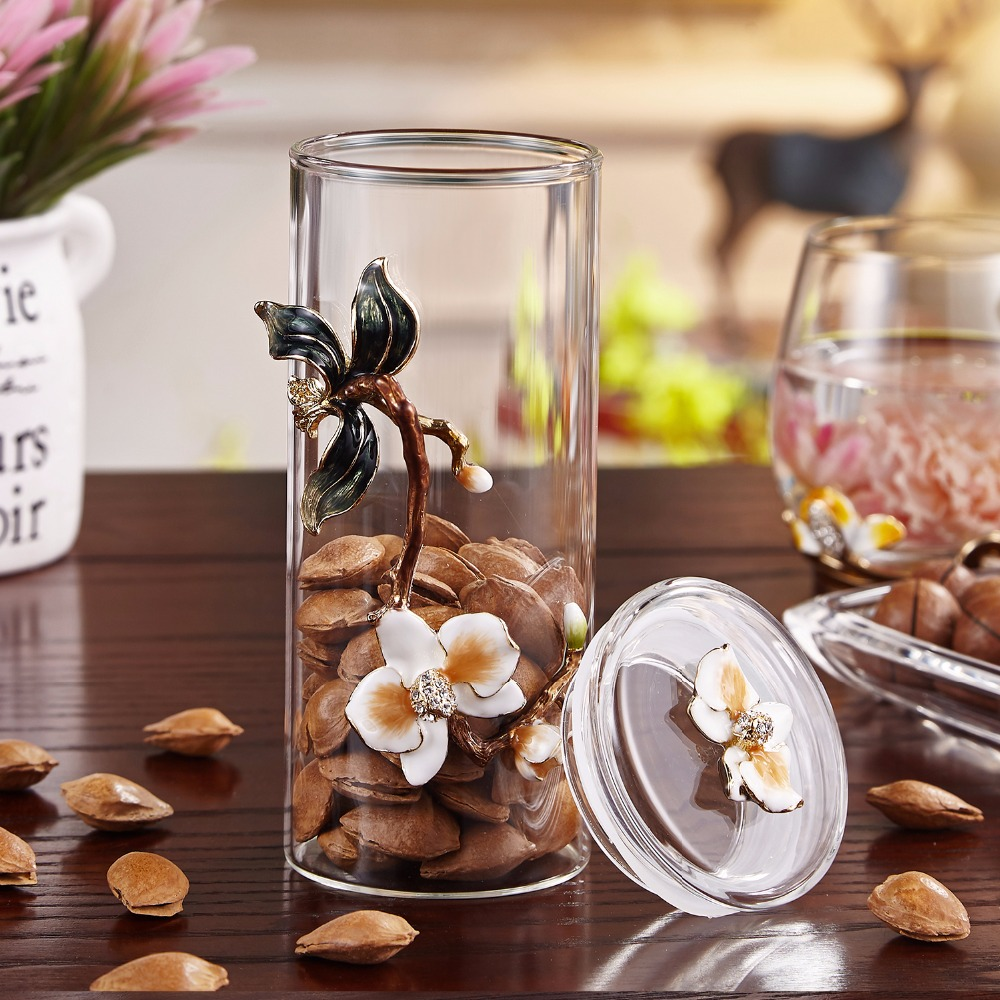 Coffee Jar Tea Jar Crystal Enamel Orchid Storage Container Kitchen Container 14oz 400mL