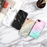 Fashion Granite Scrub Coral Marble Phone Case For Iphone 7 Soft IMD Tpu Back Cover Coque