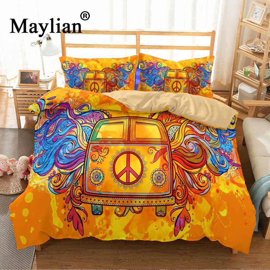 Hippie Vintage Car Bedding Set Orange Mandala Quilt Cover Peace Design Bed Set Bohemian a Mini Van Bedclothes 3pcs BE1109