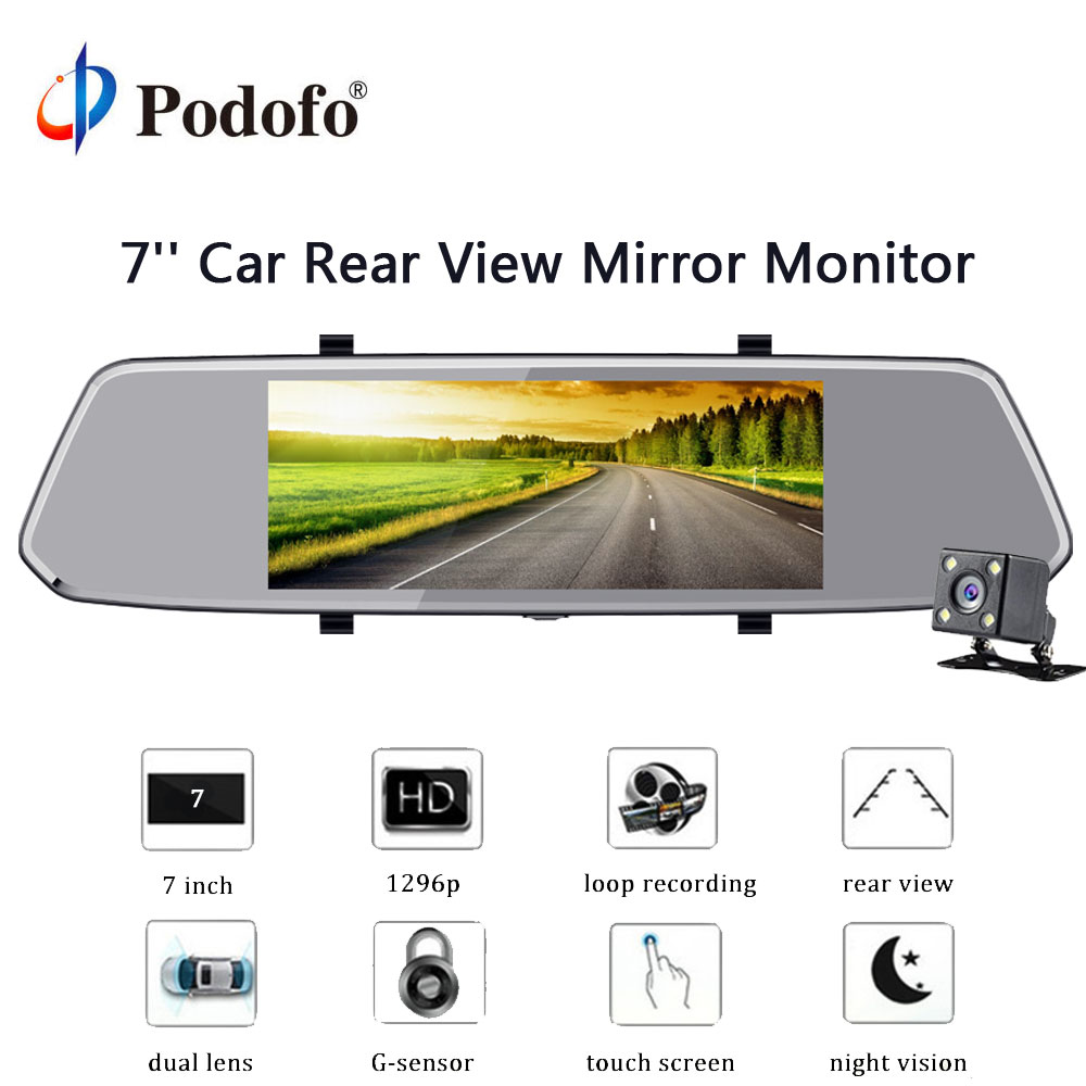 Podofo 7'' 1080P HD Car DVR Mirror Camera Video Recorder Rear View Camera Dual Lens Touch Screen Recorder Registrator Dash Cam