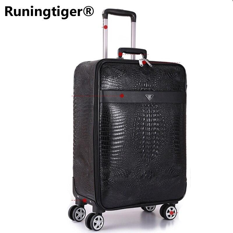 44c01d8775dd Высококачественная роскошная сумка-Спиннер для багажа с крокодиловым  покрытием, мужские чемоданы на колесах,