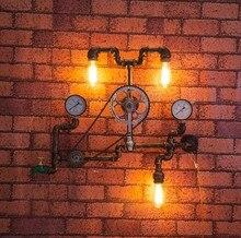 Iskandinav Loft Tarzı demir tekerlek Endüstriyel Vintage Duvar Lambası Ev Su Borusu Başucu Edison Aplik Aydınlatma