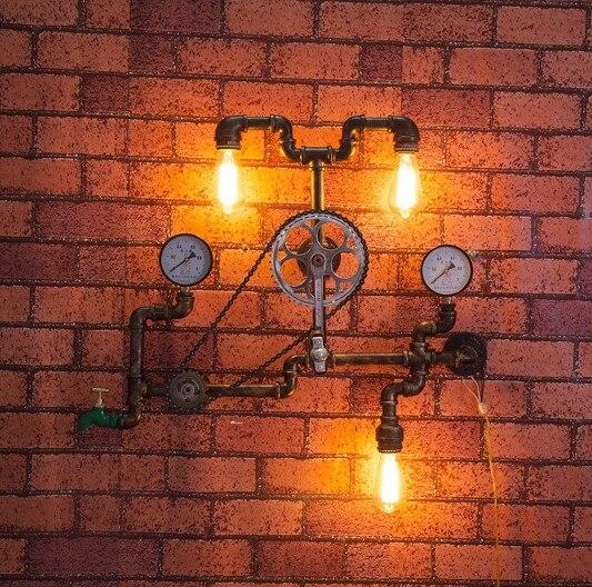 Nordic Loft Style ijzeren wiel industriële Vintage wandlamp voor - Binnenverlichting
