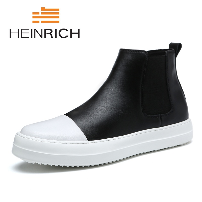 HEINRICH Spring Autumn Casual Boots Men Slip On Genuine Leather Men Flats Shoes Breathable Boots Men Shoes Heren Schoenen LeerHEINRICH Spring Autumn Casual Boots Men Slip On Genuine Leather Men Flats Shoes Breathable Boots Men Shoes Heren Schoenen Leer