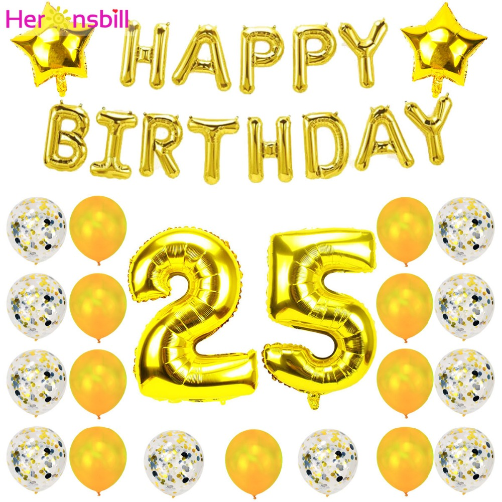 Heronsbill 32 Inch Number 25 Foil Balloons 25th Birthday Party Decoration Anniversary Supplies Rose Gold In Ballons Accessories From Home Garden On