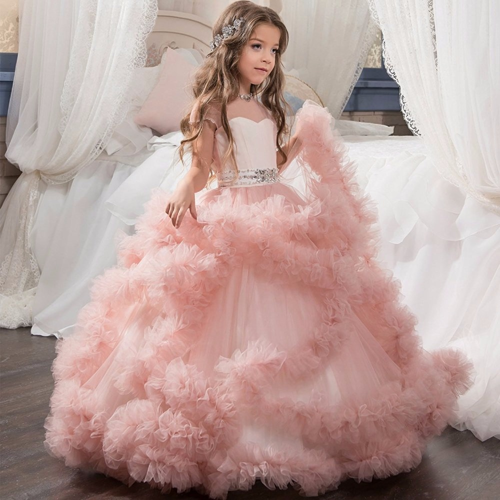 Stunning V-Back Luxury Pageant Tulle Ball Gowns for Girls 2-13 Year Old Pink Color Little Princess Flower Girl Dresses Party