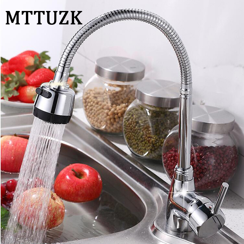 MTTUZK Universal Rotating Faucet Kitchen Hot and Cold Mixer Faucet Chrome finished Faucets Dcek Mounted With