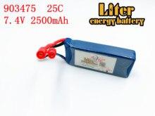 7.4V 2500mAh 25C Drone Battery 903475 For RC MJX X101/MJX X102H SYMA X8C X8W X8G X8HC X8HW X8HG Wltoys V262 Quadcopter