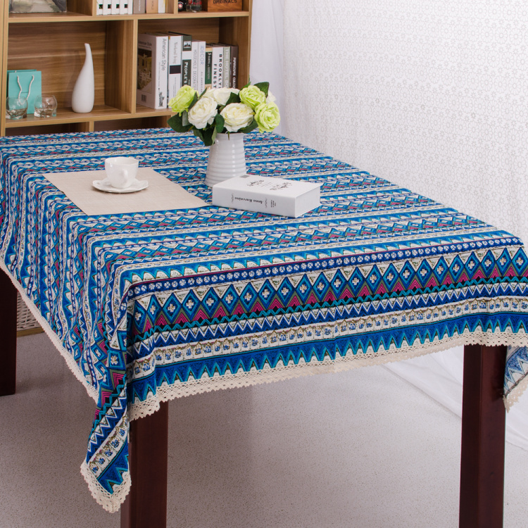 Bohemian Ethnic Dining Lace Tablecloth Canvas Cotton Table ...