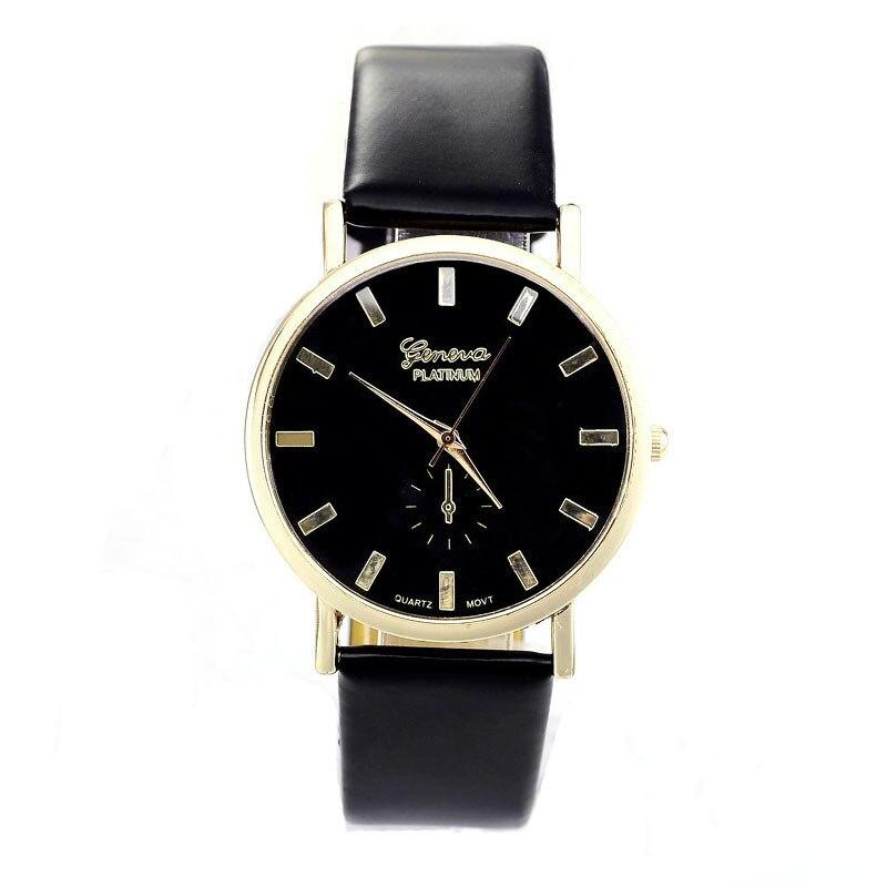 Moda Unissex Genebra Relógios Das Mulheres Dos Homens de Lazer Dial Faux Leather Banda Algarismos Romanos Quartzo relógio de Pulso reloje mujer 2016