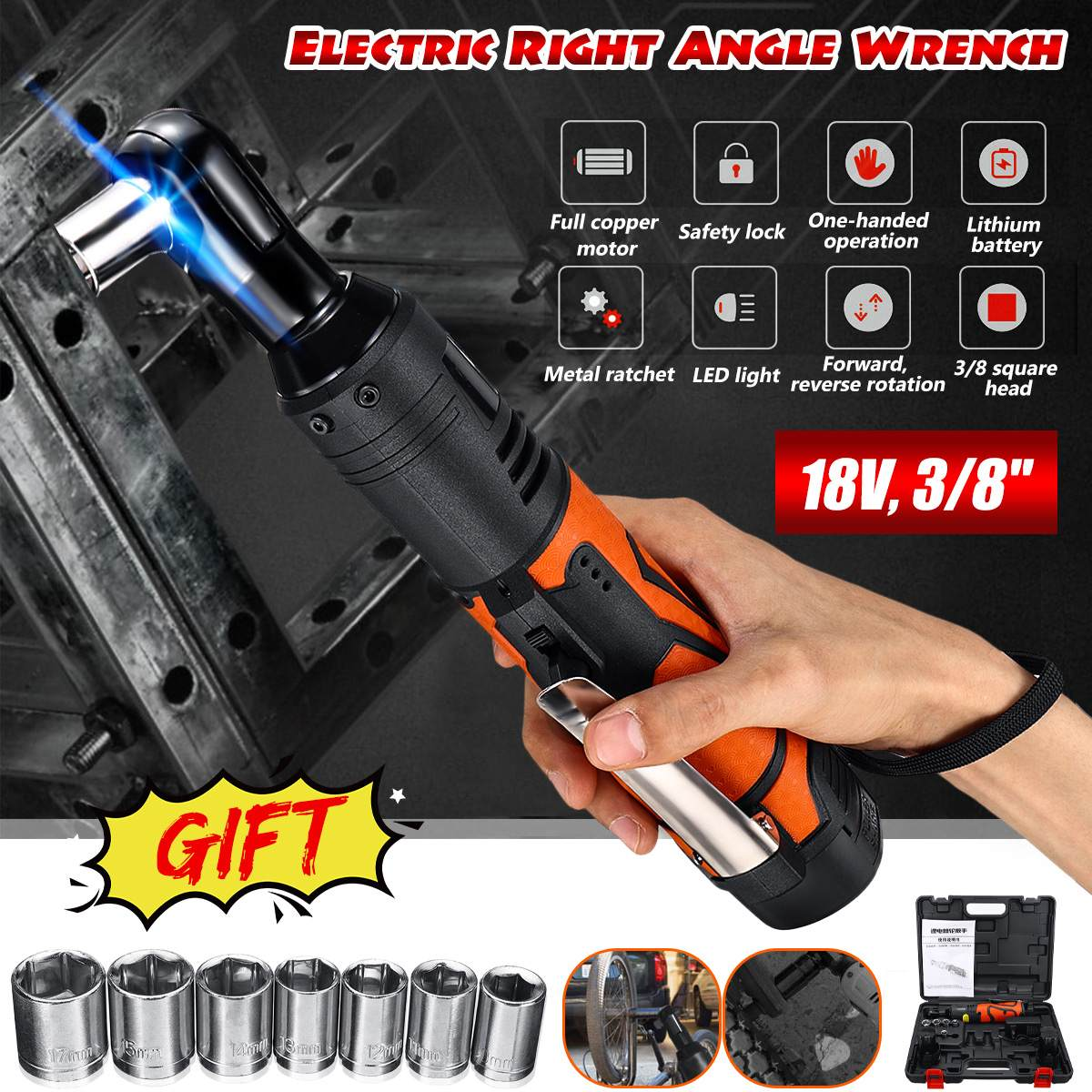 Portable 18V Cordless Electric Wrench 3/8'' 60N.m Rechargeable Ratchet 90 Degree Right Angle Wrench Power Tools Set