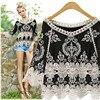 Black T Shirt Women Summer Lace Embroidery Crochet Folk Style Cotton Top Pullover Beach Wear Three