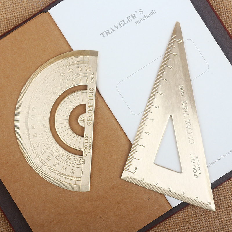 Brass Bookmark Drawing Stencils Triangle Ruler Protractor DIY Decorative Graffiti Stencils Ruler For Travel's Notebook Dokibook