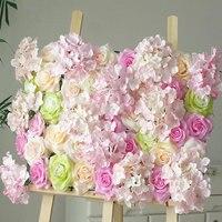 60*40cm New Flower Wall Romantic Wedding Decor Silk Rose Flower Wall Wedding Decoration Backdrop Champagne Artificial Flower