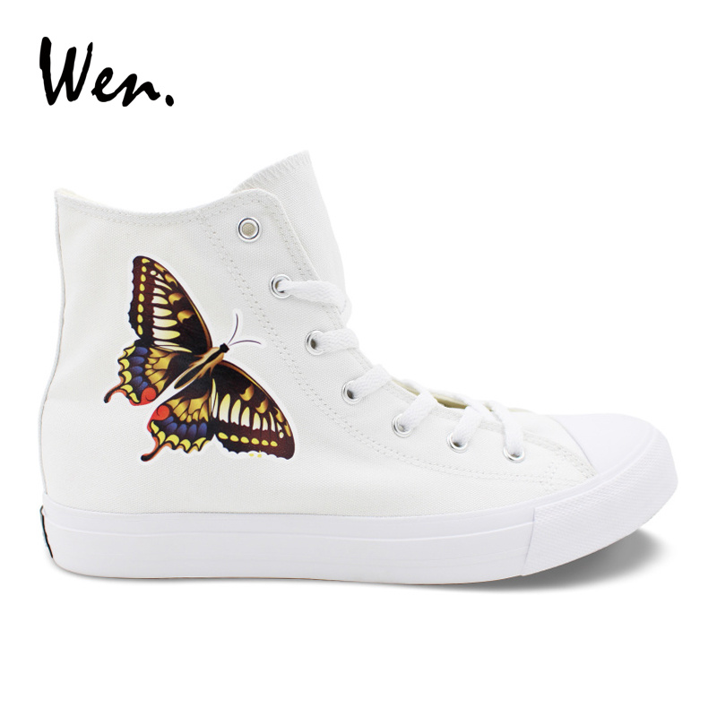 Wen Design Butterfly White Casual Shoes for Men Women Gifts High Top Girl Lady's Canvas Flat Platform Loafer Sneakers Plus Size