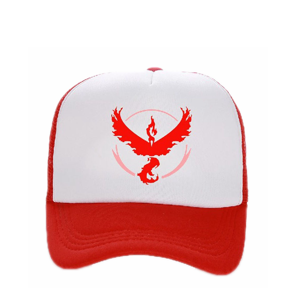 X-COSTUME Pokemon Go Cap Baseball Hat Team Valor Mystic Instinct Cosplay Accessories Summer Casual Hats Red White Patchwork