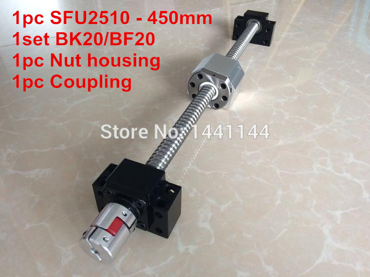 SFU2510- 450mm ball screw with ball nut + BK20 / BF20 Support + 2510 Nut housing + 17*14mm Coupling sfu2510 600mm ball screw with ball nut bk20 bf20 support 2510 nut housing 17 14mm coupling