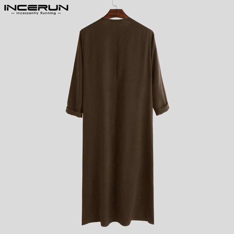 Incerun Caftán Islámico árabe Para Hombre Túnica Lisa De Manga Larga Con Cremallera Abaya Arabia Saudita Caftán Islámico 2021 Ropa Islámica Aliexpress