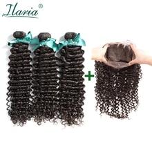 ILARIA волосы бразильские человеческие волосы 360 Кружева Фронтальные с пучками глубокая волна класс 7A вьющиеся девственные волосы 3 пучка с верхним закрытием