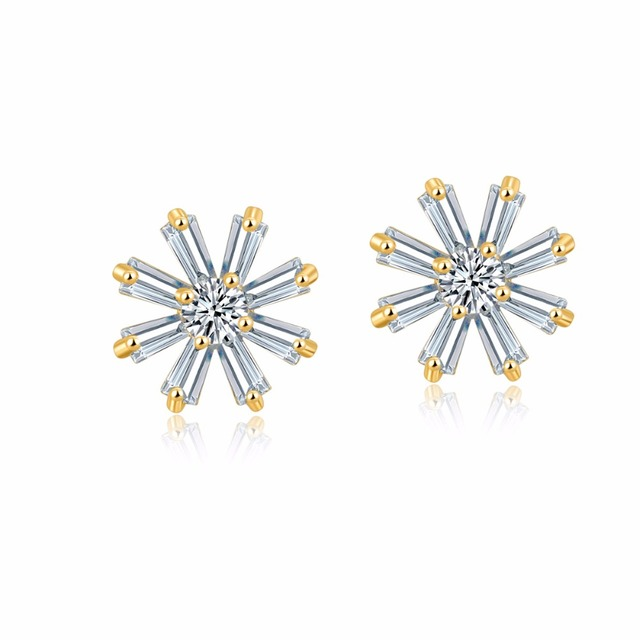 Us 4 39 Christmas Gift Rhinestone Crystal Snowflake Earrings Bijoux Women Jewelry Fashion Gold Color Cz Stud For S In