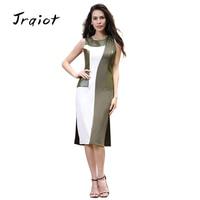 JRQIOT 2017 Summer Womens Elegant Work Office Dress Cotton Sleeveless Midi Party Dresses Vintage Bodycon Pencil