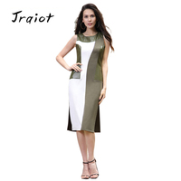 JRQIOT 2017 Summer Womens Elegant Work Office Dress Cotton Sleeveless Midi Party Dresses Vintage Bodycon Pencil