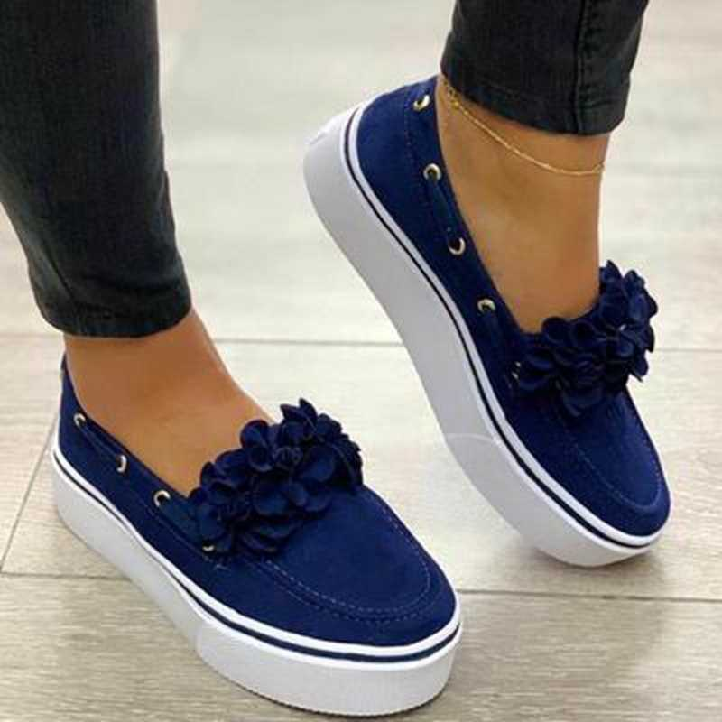 MoneRffi  2019 Women Flats Shoes Platform Sneakers Slip On Suede Ladies Loafers Casual Floral Shoes Women Shoes zapatos de mujer