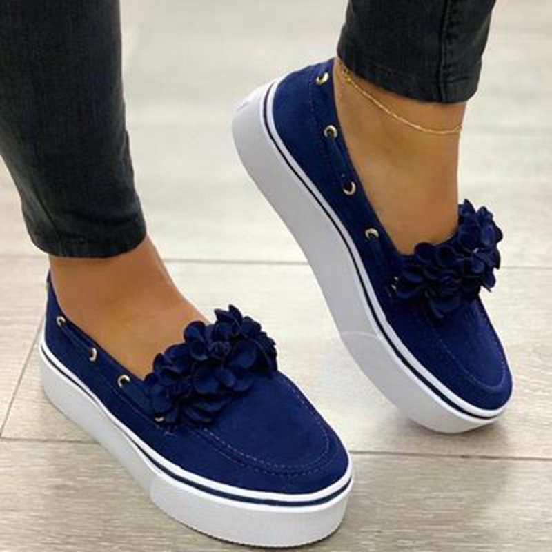MoneRffi 2020 Women Flats Shoes Platform Sneakers Slip On Suede Ladies Loafers Casual Floral Shoes Women Shoes zapatos de mujer(China)