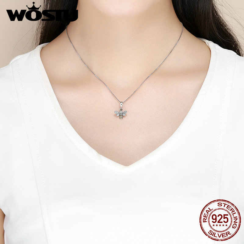 WOSTU 925 srebro gorący bubel pszczoła wysadzana kryształkami CZ łańcuch koralik Charms fit bransoletka naszyjnik 2019 moda biżuteria Party prezent CQC821