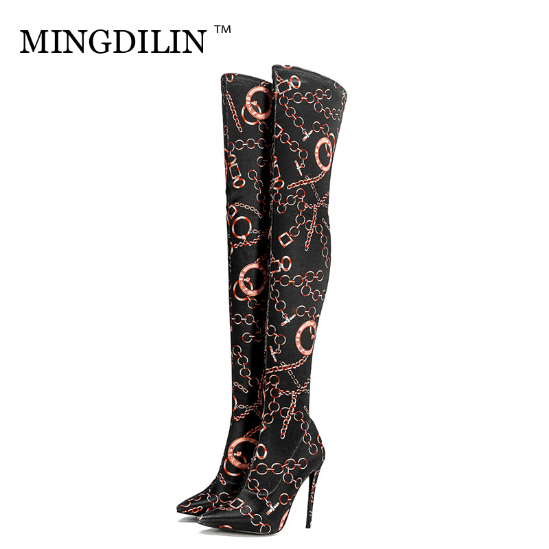 MINGDILIN Womens Over The Knee Boots Winter High Heels Black Thigh High Boots Pointed Toe Fashion Sexy Knee High Boots 2018