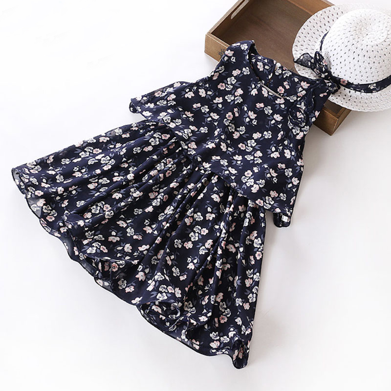Girls Floral Chiffon Dress Fashion Farmhouse Style Girls Clothes Summer Sleeveless Princess Dress+Hat Kids Girls Dress Clothes