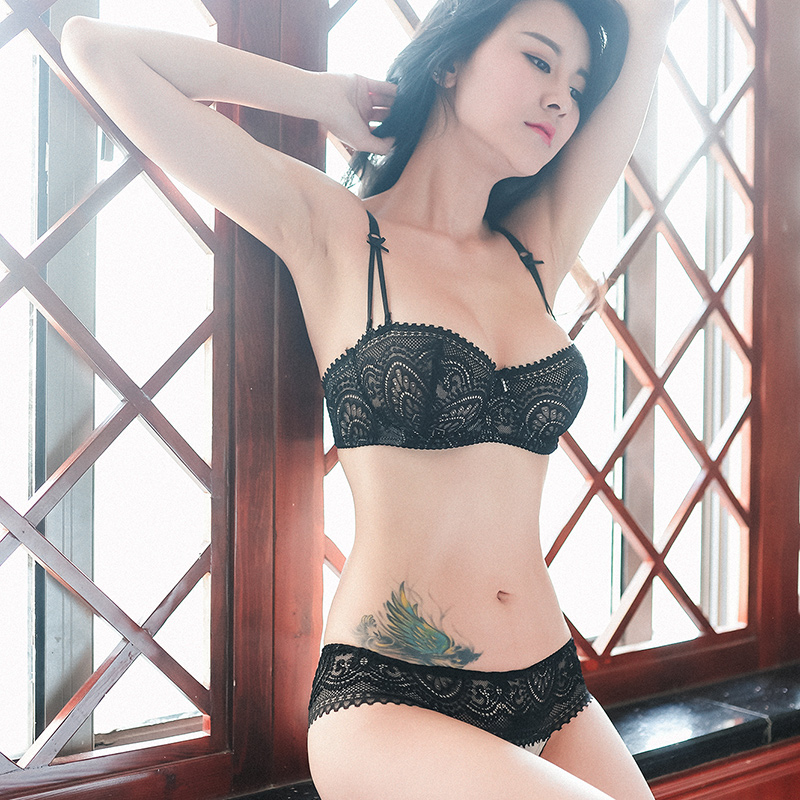 Shaonvmeiwu Mint green 1/2 half a cup of yarn sexy lace breathable ultra-thin transparent bra underwear not sponge
