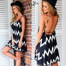 Womens Pencil Dress summer sexy Sleeveless above knee striped tassel A-line dresses for holiday beach AIDAYOU ouc680