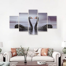 Laeacco Abstract Modern Swan Wall Artwork 5 Panel Animal Posters and Prints Canvas Painting Nordic Home Living Room Decoration