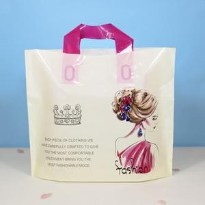 Image 5 - 50 adet Flamingo Hediye Plastik saplı çanta giysi saklama Çantası Teşekkür Ederim Plastik alışveriş çantası Paketleme Düğün Parti Dekorasyon