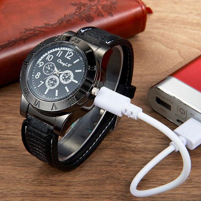 Cigarette Lighter USB Charging Quartz Watches 3