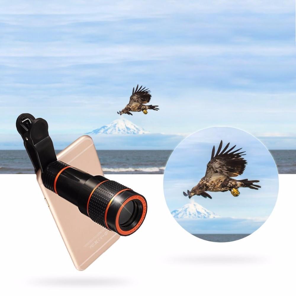 APEXEL 6IN1 phone camera lens 12X Telescope telephoto Zoom+fisheye wide angle macro Lens kit For iPhone7 6S plus Samsung s8 20