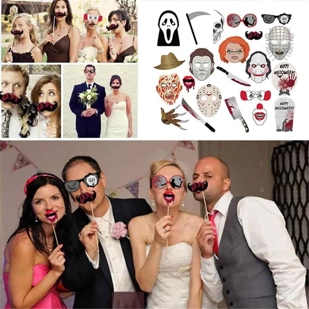 22 sztuk zabawne Halloween zdjęcie rekwizyty karnawał Party Decoration zdjęcie rekwizyty dodać zabawy emocji do uroczystości Halloween Theme Party