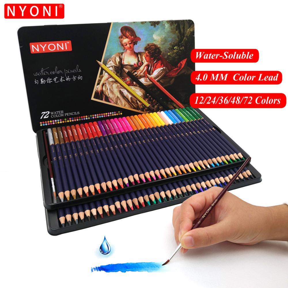 Crayon aquarelle à noyau souple de première qualité 12 24 36 48 72 150 crayons de couleur professionnels solubles dans l'eau pour fournitures d'art