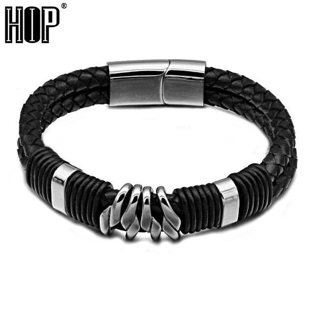 Hip Punk Stainless Steel Magnet Bracelets 23cm Double Layer Black Handmade Genuine Leather Bangles For Men