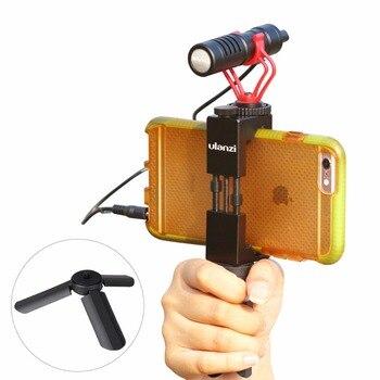 Ulanzi Smartphone Video Microphone with Handle Grip Tripod for iPhone HuaWei Filmmaking Rig stabilizer Live Streaming shotgunMic