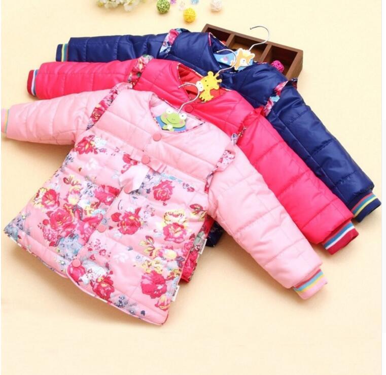 2017 Kleine Bloem Winter Kid Meisje Hooded Uitloper Baby Koreaanse Katoen Warme Jas Kinderen Dikke Mode Parka Kind Clothes0-2y