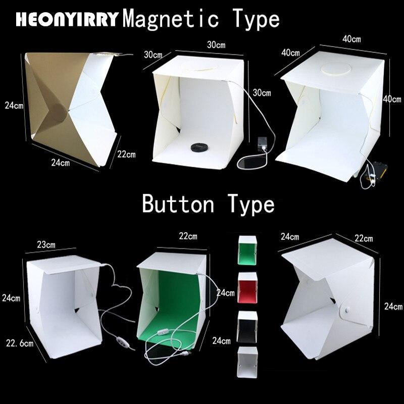 Portatile Pieghevole Lightbox Photography Studio Softbox Luce LED Soft Box Tenda Kit per iPhone Samsang DSLR Macchina Fotografica Photo Sfondo