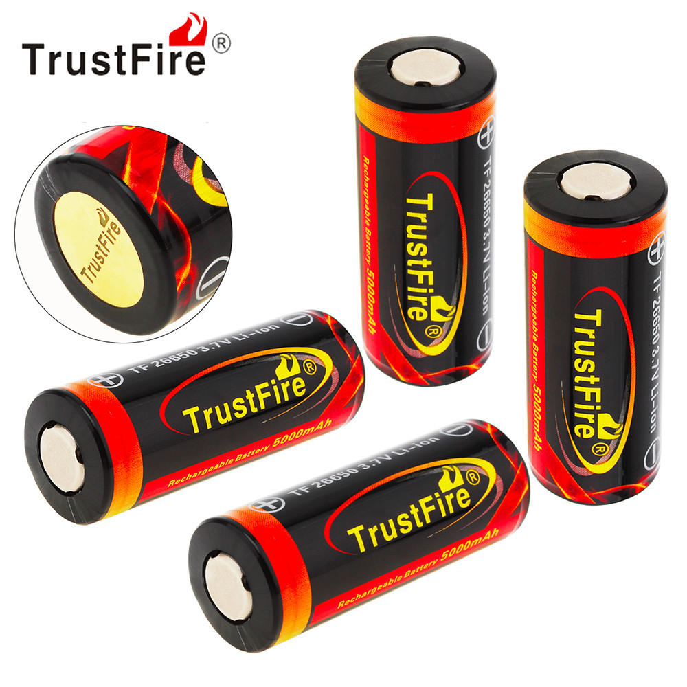 все цены на 4pcs TrustFire 3.7V 26650 Battery High Capacity 5000mAh Rechargeable Li-ion Battery with Protected PCB for LED Flashlight