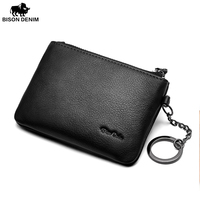 BISON DENIM Leather Coin Purse Mens Small Wallet Purse Money Bags Pocket Wallets ID Card Holder