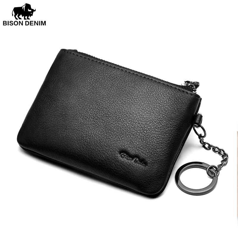 BISON DENIM Leather Coin Purse Mens Small Wallet Purse Money Bags Pocket Wallets ID Card Holder Zipper Male Mini Pouch N9346-1B
